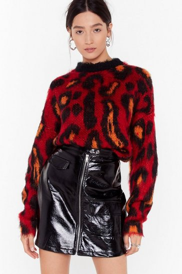 Red Brush Up Nice Knit Leopard Sweater