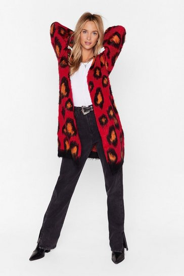 Red Knit Got Wild Longline Leopard Cardigan