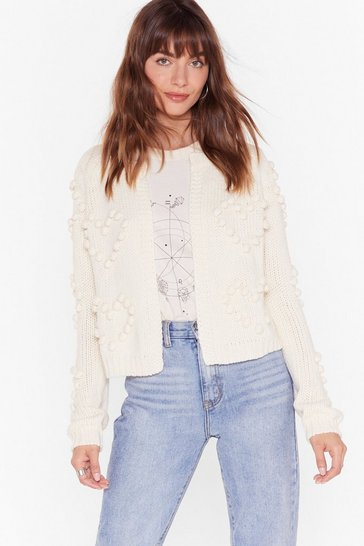 Cream Crazy for Your Love Pom Pom Cropped Cardigan