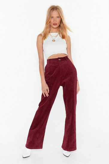 Womens Maroon straight leg cord pants