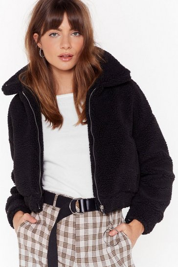 Womens Black Cozy Little Thing Called Love Faux Shearling Jacket