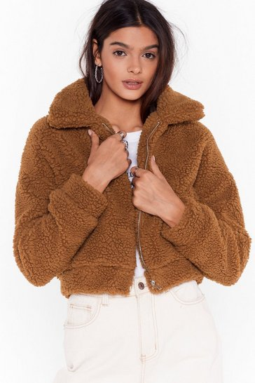 Womens Tan Cozy Little Thing Called Love Faux Shearling Jacket