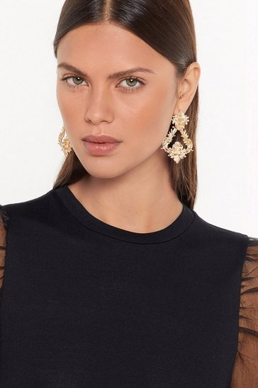 Womens Gold Royal Treatment Ornate Drop Earrings