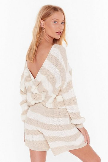 Womens Oatmeal Stripe Back to Bed Knit Sweater and Shorts Set