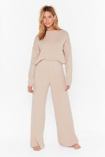 Womens Beige Came Here to Chill Sweater and Pants Lounge Set