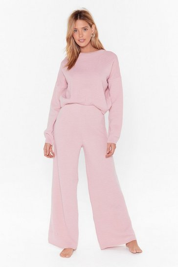 Womens Pink Came Here to Chill Sweater and Pants Lounge Set