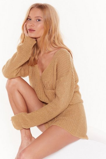 Womens Camel Dusk Chill Dawn Knitted Wrap Sweater and Shorts Set