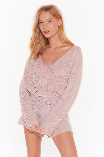 Womens Pink Dusk Chill Dawn Knitted Wrap Sweater and Shorts Set