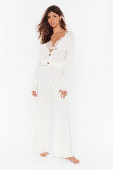 Cream In a Knit Second Cardigan and Wide-Leg Pant Set