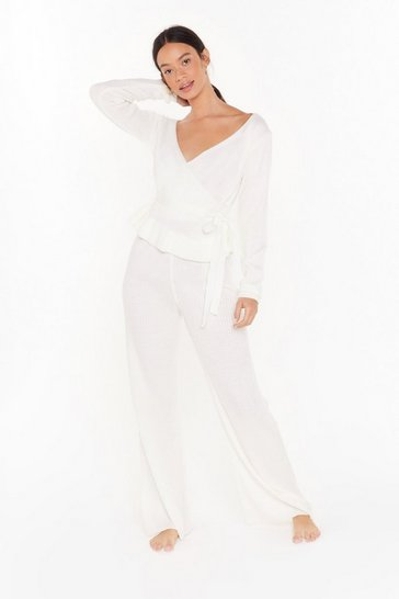Womens Cream Knit's Time to Wrap Up Sweater and Wide-Leg Pants Set