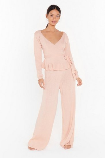 Nude Knitted wrap tie detail sweater & wide leg set