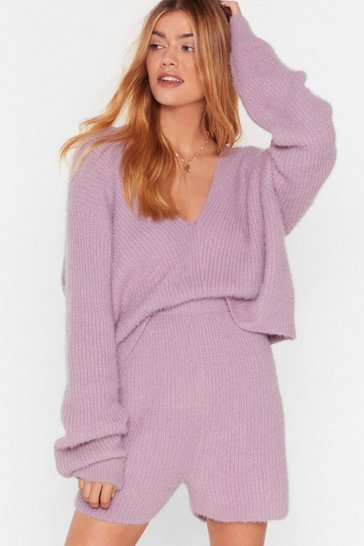 Womens Lilac Knit's a No From Us Cropped Sweater and Shorts Set