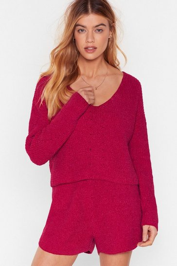 Womens Raspberry Chenille v neck lounge top & shirt set
