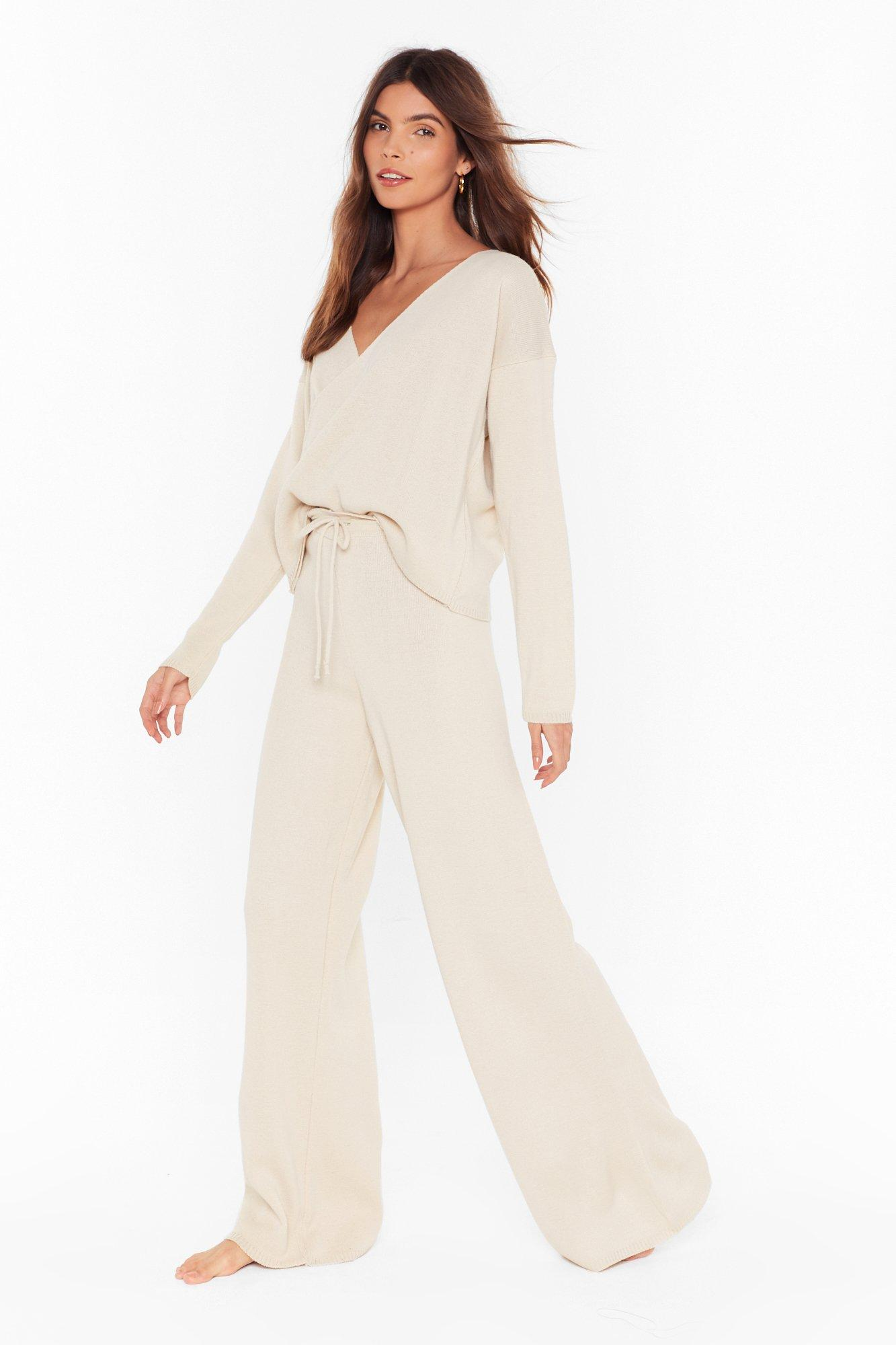 Knit's Time To Chill Wrap Sweater And Pants Set by Nasty Gal