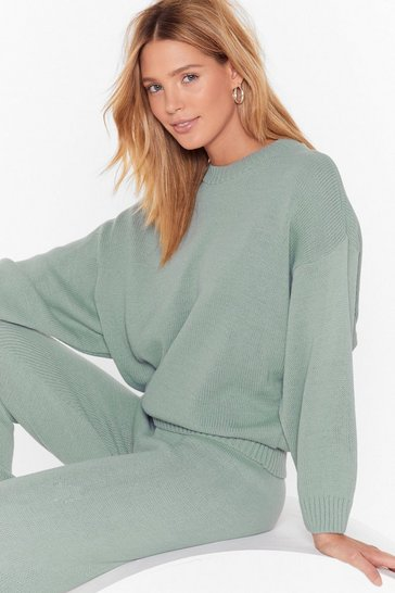 Womens Sage Lounge What I Was Looking For Knitted Sweater and Jogger Set