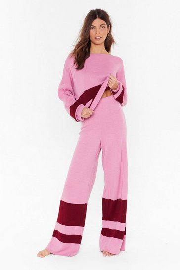 Pink I'll Be Stripe Back Sweater and Wide-Leg Lounge Set