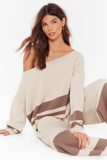 Womens Stone I'll Be Stripe Back Sweater and Wide-Leg Lounge Set