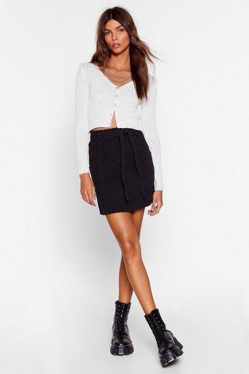 Black Ask Me Tie Denim Paperbag Mini Skirt