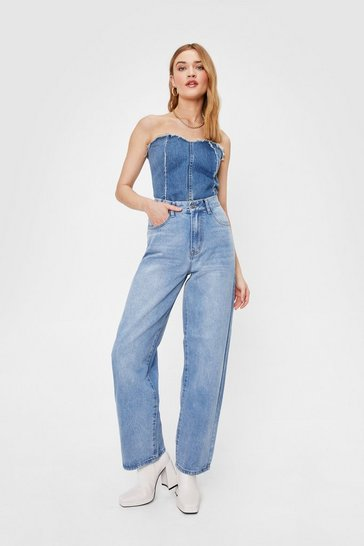 Light blue Dru Faded Wide Leg Jeans