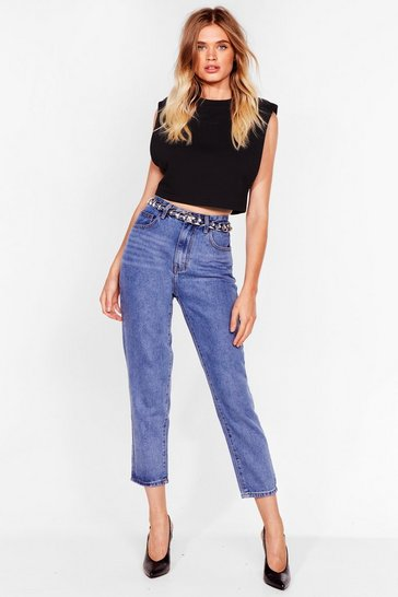 Light blue High Waisted Tapered Cropped Jeans