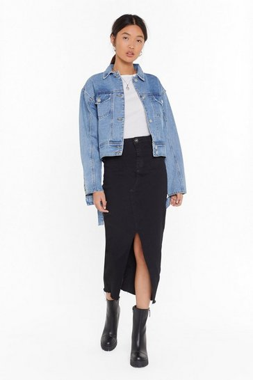 Womens Black Hem Fatale Denim Midi Skirt