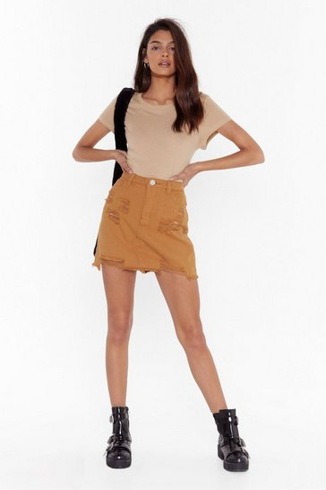 Mustard Forget What They Shred Distressed Denim Skirt