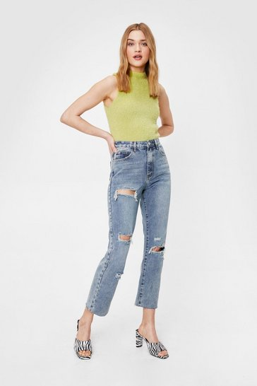 Mid blue Distressed to Impress Straight Leg Jeans