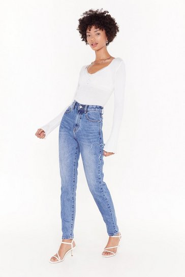 Mid blue Side Slit High Waisted Mom Jeans