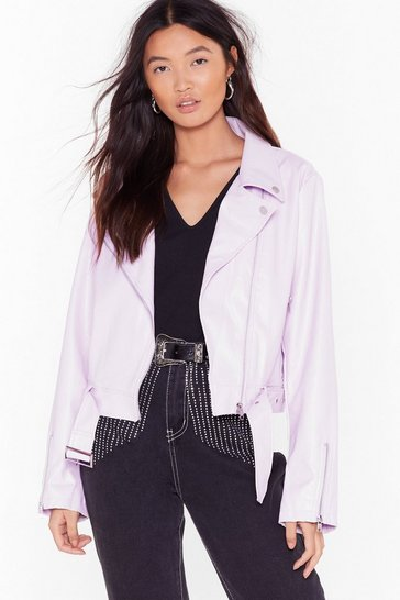 Lilac Game Plan Faux Leather Moto Jacket