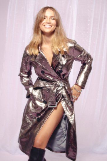 Womens Pewter Be Shine Metallic Trench Coat