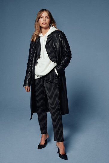 Black Check Your Coat Faux Leather Trench Coat