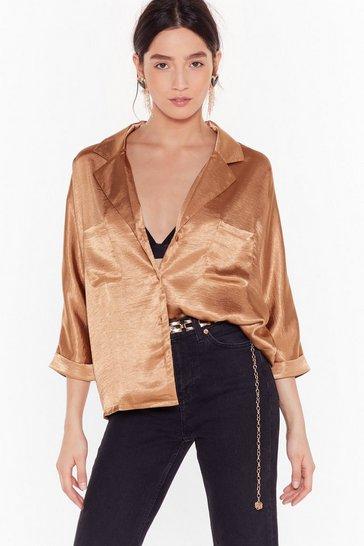 Camel Sleek to Sleek Satin Shirt