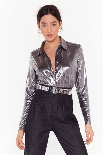 Womens Silver Girl You Shine Metallic Shirt