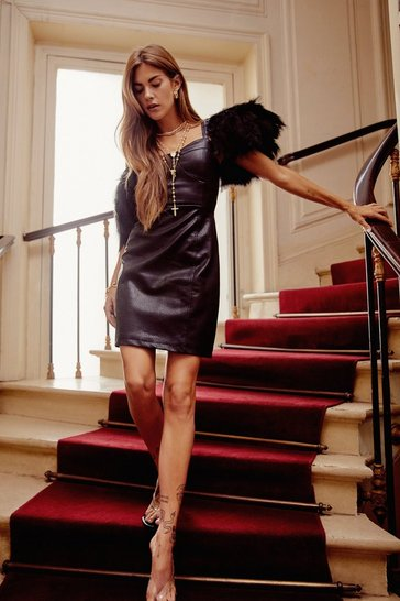 Black Dance or Flight Faux Leather Feather Mini Dress