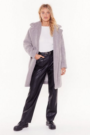 Womens Grey I Won't Fur-get You Faux Fur Coat