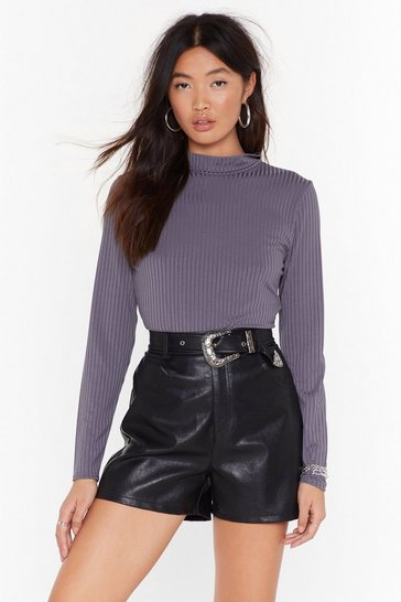 Womens Charcoal If Rib Ain't Broke Ribbed High Neck Top