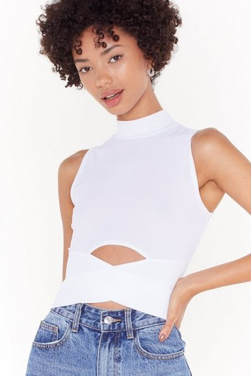 Womens White Cut-Out to Play Turtleneck Crop Top