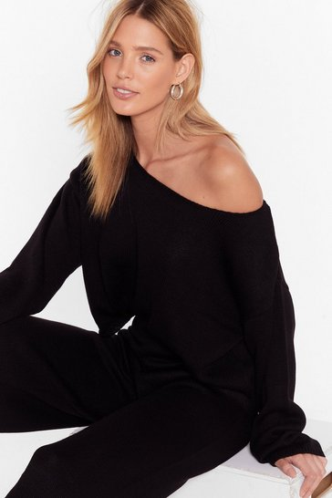 Black That's Knit Off-the-Shoulder Lounge Sweater and Pants Set