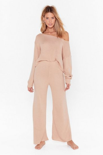 Nude That's Knit Off-the-Shoulder Lounge Sweater and Pants Set