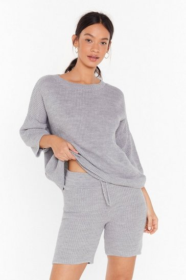 Womens Grey Knit Waking Me Up Ribbed Sweater and Shorts Lounge Set