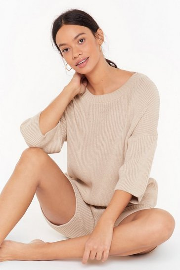 Womens Oatmeal Knit Waking Me Up Ribbed Sweater and Shorts Lounge Set