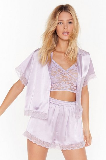 Womens Lilac Lace trim button through pj short set