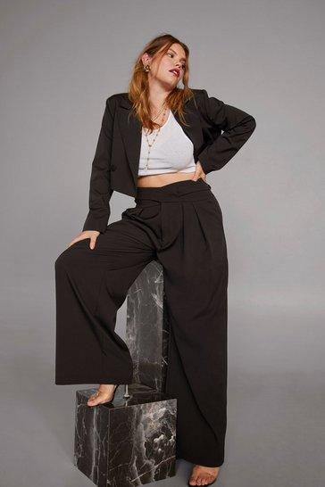 Womens Black Cara Delevingne Woman's World High-Waisted Plus Pants