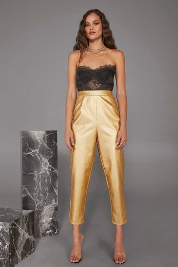 Womens Cara Delevingne Gold Dust Woman Metallic Pants