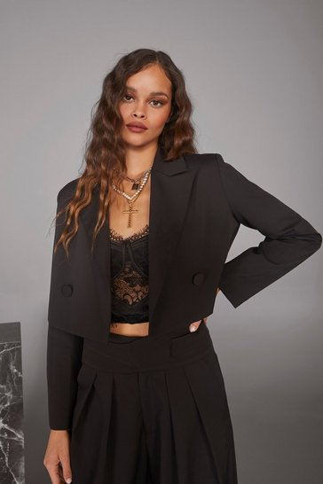 Womens Black Woman's World Cropped Blazer