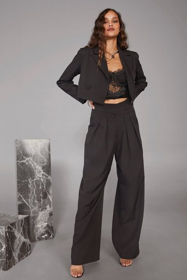 Womens Black Woman's World High-Waisted Wide-Leg Pants