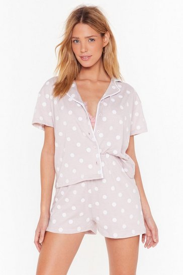 Womens Mauve Dot No Plans Jersey Pajama Shorts Set