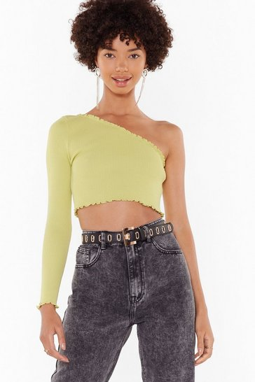 Womens Lime One Shoulder's All It Takes Crop Top
