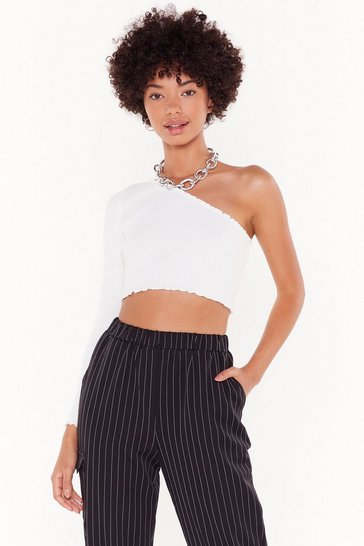 Womens White One Shoulder's All It Takes Crop Top