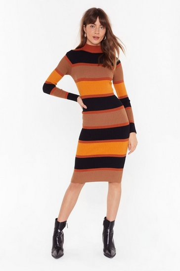 Womens Mustard Stripe By Your Side Knit Midi Dress